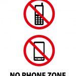 通話禁止エリアを表す英語の注意貼り紙テンプレート