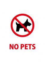 ペット禁止を意味する英語の注意貼り紙テンプレート