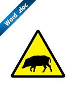 猪の注意標識アイコンの貼り紙ワードテンプレート