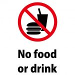 英語の飲食禁止、注意貼り紙テンプレート