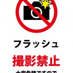 危険のためフラッシュ撮影を禁止する注意貼り紙テンプレート