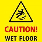 英語の滑りやすい床への足元注意貼り紙テンプレート