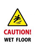 英語の濡れて滑る床への注意貼り紙テンプレート