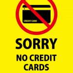 英語でのクレジットカード支払い不可の貼り紙テンプレート