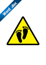 裸足・素足の注意標識アイコンの貼り紙ワードテンプレート