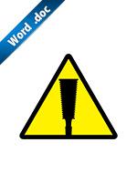 ノコギリ取扱注意のアイコンの貼り紙ワードテンプレート