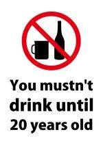 英語の20歳未満の飲酒禁止の注意貼り紙テンプレート