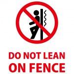 英語のフェンスへの寄りかかり禁止の注意貼り紙テンプレート
