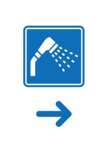シャワールーム(右矢印)の案内貼り紙テンプレート
