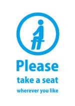 英語でお好きな席にお掛けくださいと伝える案内貼り紙テンプレート