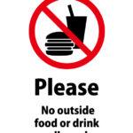英語で飲食物の持ち込み禁止を伝える注意貼り紙テンプレート