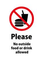 英語で飲食物(他から)の持ち込み禁止を伝える注意貼り紙テンプレート