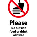 日本語と英語で飲食物の持ち込み禁止を伝える注意貼り紙テンプレート