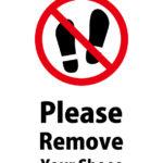 英語で靴を脱いでくださいとお願いする注意貼り紙テンプレート