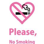 ハート型の禁煙マークと英語で喫煙禁止のお願いする注意貼り紙テンプレート